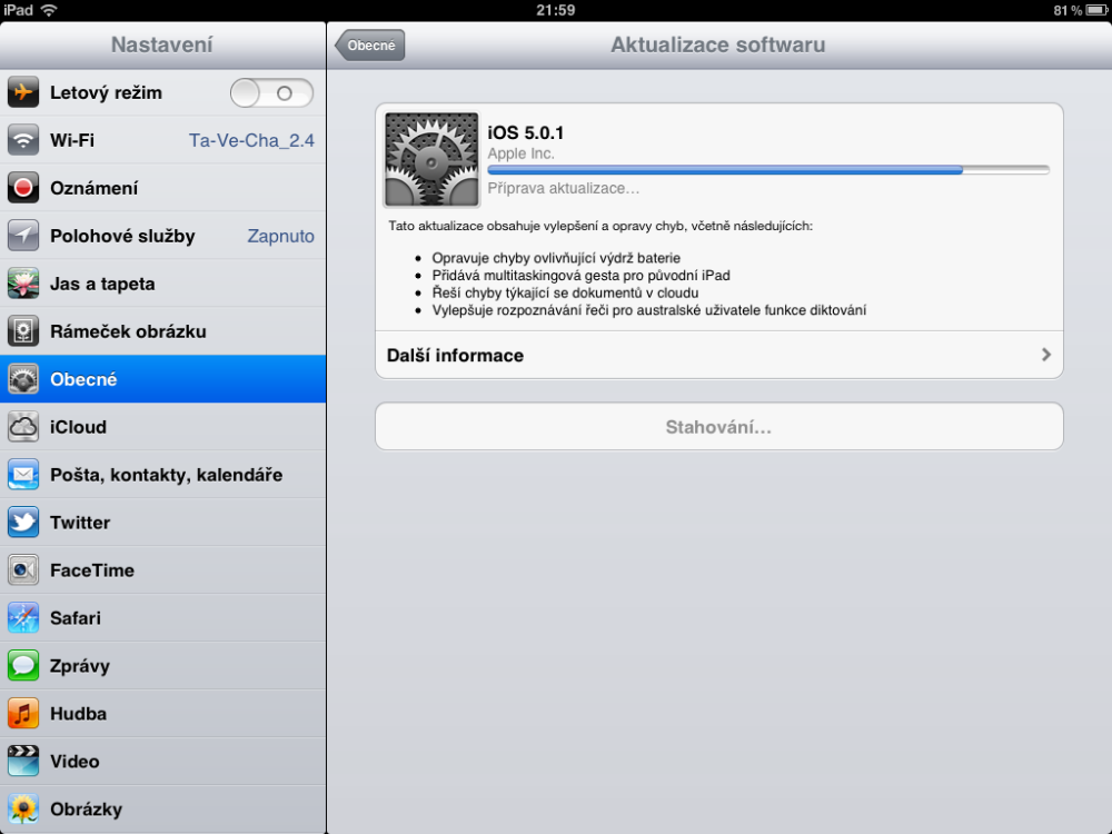 Přidání filmů a hudby, aktualizace iOS (3/3)