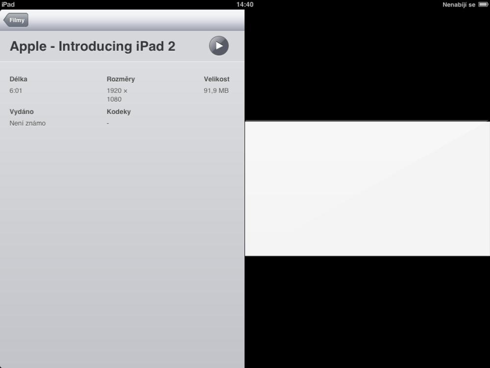 Přidání filmů a hudby, aktualizace iOS (1/3)